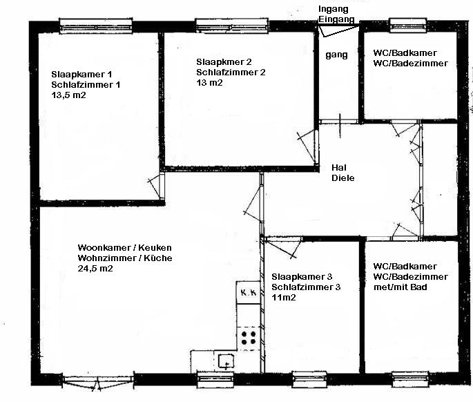 Het huis is ingericht voor een verblijf van zes personen. De indeling: